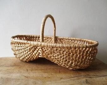 Vintage french wicker basket, 1950, Panier ancien de vigneron, France