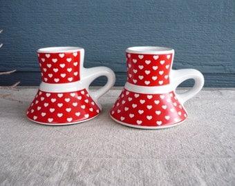 Set of 2 Vintage Wide Bottom No Spill Ceramic Coffee Mugs, Heart Design, Valentine's Day