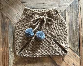 READY TO SHIP///Garter Stitch Bloomers in Camel Brown (0-3 Months)