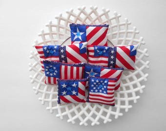 Flag Ornament Rustic Bowl Fillers Decoration Patriotic Fourth of July Ornament American Colors Pillows Independence Day Rustic Country Decor