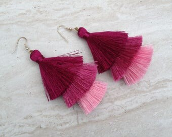 Silk Tassel Stack Earrings Fuschia Ombre Combo Tassle Earrings Festival Tassel Earrings Tassle Earings BOHO Earrings Summer Jewelry