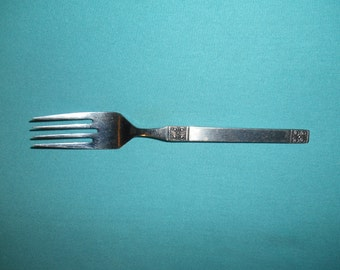 """One (1), 6 1/2"""" Stainless, Salad Fork, from Ekco-Eterna, in the Gemini Pattern."""