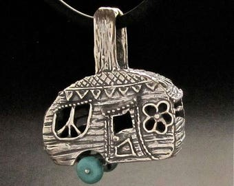 Turquoise Camper Pendant, Peace, Love and Flower Power, handmade Sterling Silver in USA