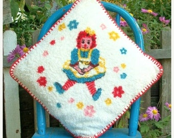 ON SALE Vintage Raggedy Ann Terry Cloth Pillow with Red Blanket Stitching Red Yellow Blue White Pink Flowers Little Girls Bedroom