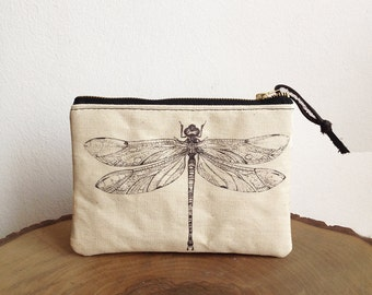 Dragonfly print pouch, Zipper pouch, Cosmetic bag, Make up bag, Natural, Small pouch, carry all pouch, Black and white