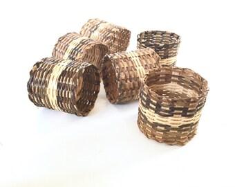 Set of 6 Woven Wicker Napkin Rings