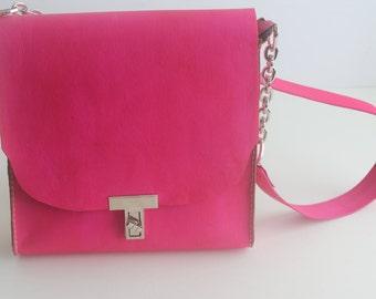 Fuchsia Vegetable Tanned Shoulder Purse, Fuchsia Satchel bag, Leather Women Bag, Designer Leather Bag, Veg-Tanned Handbag, Tote Hobo Handbag