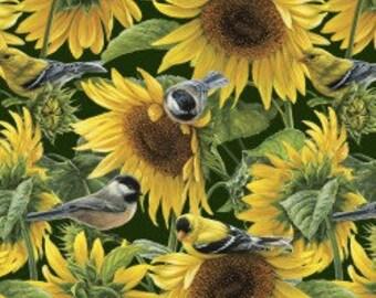 Sunflowers and Birds - Lush Garden - Cotton Fabric - David Textiles - FL-20