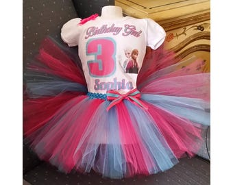 Anna and Elsa Frozen Turquoise, Pink and White Shirt and Tutu Skirt Birthday Outfit