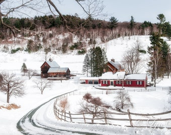 A Vermont Scene -  Nature photography, landscape photography, winter, snow, Christmas, fine art print, wall art, farm, new england