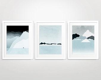 Wall Art Set of 3 Prints, Mountain Print, Modern Art Prints, Abstract Landscape Print, Minimalist Art, Blue Wall Art, Winter Landscape