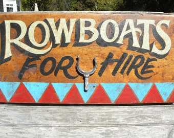 Rowboats Canoe Rental  Sign  original  hand painted  boat cleats OW2