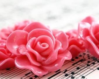 Resin Cabochon - 5pcs - Flower Cabochon - Pink Flower Cabochon - Cabochon - SW005-7