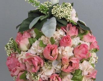 Wedding Pomander, Kissing Ball,  Flower Girl Pomander, Wedding Flower Ball,  Pretty Pink Floral Ball Ideal for Little Girl's Hand To Carry