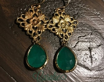 green + gold disc earrings