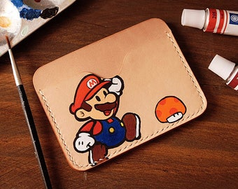 100% Hand-stitched Vegetable Tanned Leather Lovely Mario Card Case ID Card Holder Transportation Card Case