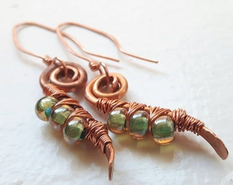 Copper Drop Earrings with Green Centred glass Beads