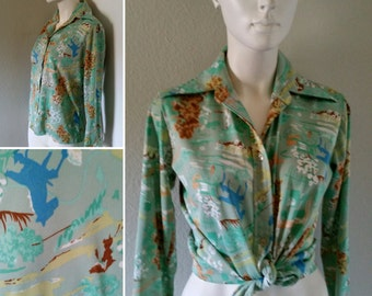 Vintage women's polyester disco swinger button up abstract psychedelic costume hippie boho hipster festival
