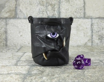 Dice Marble Bag Fairy Pouch With Face RPG LARP Drawstring Rune Gamer Black Leather