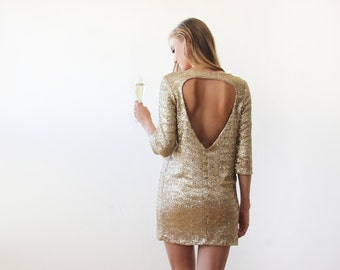 Swanky gold sequins mini dress with open back, Gold Sequins mini party dress 1132
