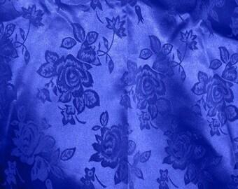 Brocade Jacquard Satin Royal Blue 60 Inch Fabric by the Yard - 1 yard