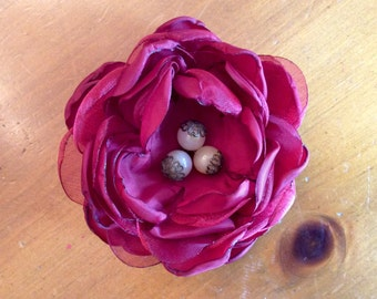 Ruby Red Flower Pin
