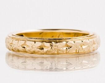 """Antique Wedding Band - Antique 18k Rose Gold Engraved """"1902"""" Floral Wedding Band"""