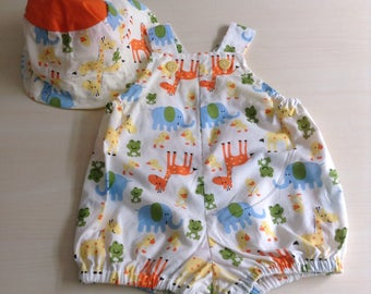 Baby boy/girl two piece set - size 00 - 3-6 months - zoo animals - perfect for summer and Christmas picnics - handmade and unique