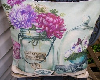 Country Cottage Style  Pillow Cover 18 x 18, Printed Design Honey Jar and Cloche  Shabby Farmhouse French Vintage Home Decor Light Green
