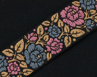 "Historic Arts & Crafts Style Jacquard Trim Deep Rose Flowers  Vines On Black 3 yards 1.25 "" wide"