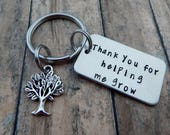 Thank you for helping me grow - Hand Stamped Teacher Keychain - Teacher Gift - Back to School - Teacher Appreciation - Teacher Key Chain