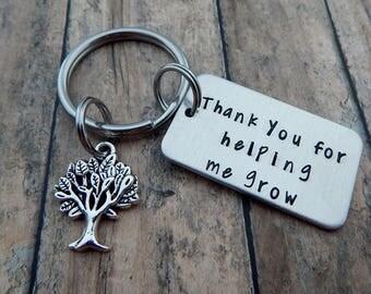 Thank you for helping me grow - Hand Stamped Teacher Keychain - Teacher Gift - Back to School - Teacher Appreciation - Teacher Key Chain