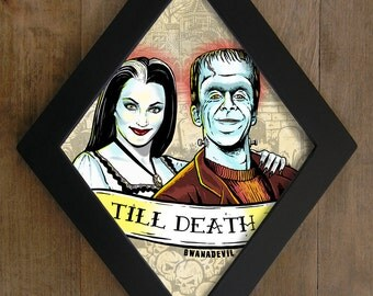 Lily Munster and Herman Munster. Till Death diamond framed print.