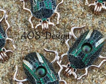 Pick A Pearl Cage Necklace Rose Gold Scarab Beetle Locket Charm WITH GREEN BEAD Pearls Gems Crystal Accents Mummy