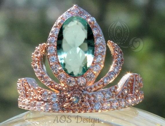 Rose Gold Elsa Anna Princess Tiara Ring Frozen Crown with