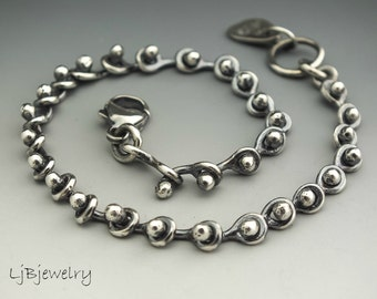 Silver Bracelet, Chain Bracelet, Link Bracelet, Stacking Bracelet, Metalsmith, Metalwork, Handmade, Artisan Jewelry