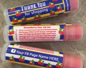 TODAY Americana SALE 1 dollar ea Personalized Lip Balm,120, Chapstick, Strawberry Jam flavor, Consultants Gifts, Live sale, Business Cards