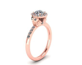 3 of 4 Payments- Owl Halo Engagement Ring with Fresh Water Pearl Center and  Diamond Shank 14K Gold and Diamond Wedding Band