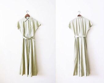 Linen Maxi Dress / 90s Linen Dress / Button Front Maxi Dress / Khaki Dress / Long 90s Dress