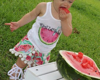 Watermelon Pom Pom Shorties Coachella Shorts