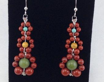 Red jasper earrings,dangle earrings,beaded earrings,wrapped gemstone beads,sterling silver earrings,long drop earrings,silver jewelry