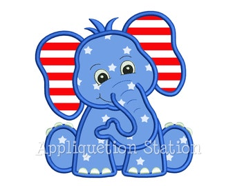 Patriotic Elephant Applique Machine Embroidery Design 4th of July Boy Girl Cute animal republican Trump INSTANT DOWNLOAD