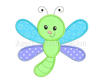 Cute Bugzee Dragonfly Applique Machine Embroidery Design boy/girl baby insect bug INSTANT DOWNLOAD