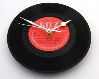 "When You Were Sweet Sixteen, FOSTER & ALLEN Vinyl Record CLOCK, made from recycled 7"" single gift men women black and red, 16th birthday"