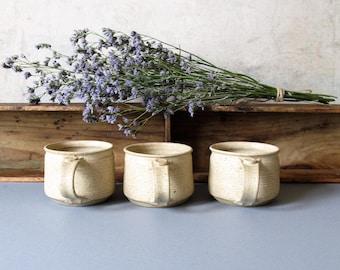 Vintage studio pottery coffee mugs, stoneware cups, rustic coffee cups