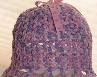 Baby Girl Easter Hat - Matching Booties - Pink Purple Tweed - Size 3 to 6 Month - Baby Accessories - Clothing for Infants