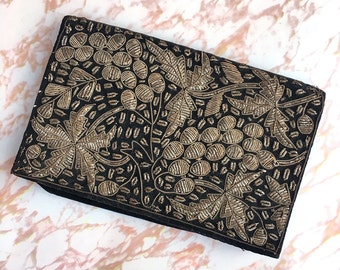 Vintage Black Velvet Clutch with Zardozi Metal Embroidery