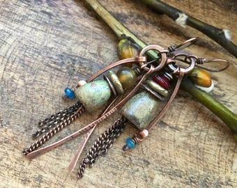 Rustic Artisan Ceramic Bell Flowers earrings n275. Medium Artisan Jewelry . Spring Jewelry . Tribal Primitive Jewelry . Clay Flower earrings
