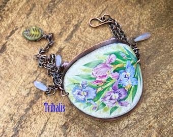 Rustic Bohemian Flourish Bracelet   tribal bohemian jewelry . purple lavender green flowers . tin collectors bracelet tin primitive artisan