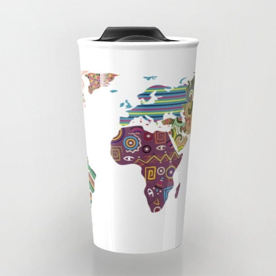 World Map Travel Mug, Cute Travel Mug,  Ceramic Mug, Unique Coffee Mugs,  Tea Mug, Travel Gift